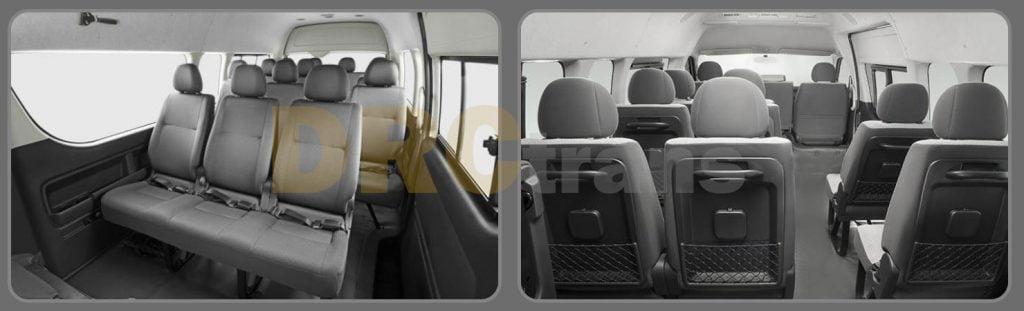 Cabin Penumpang Toyota HiAce Commuter tampak depan dan belakang